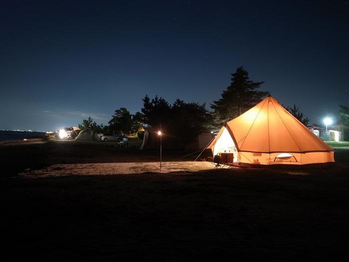 青柳浜キャンプ場 夜の風景