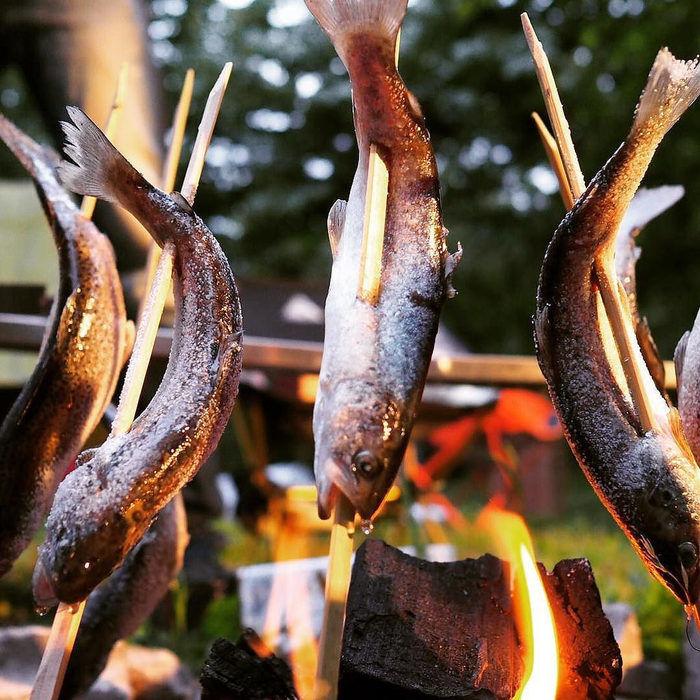 串にさした魚をたき火に回りにさして焼く