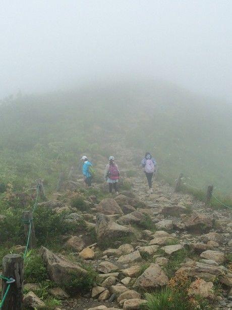 ごつごつとした岩場を進む女性たち