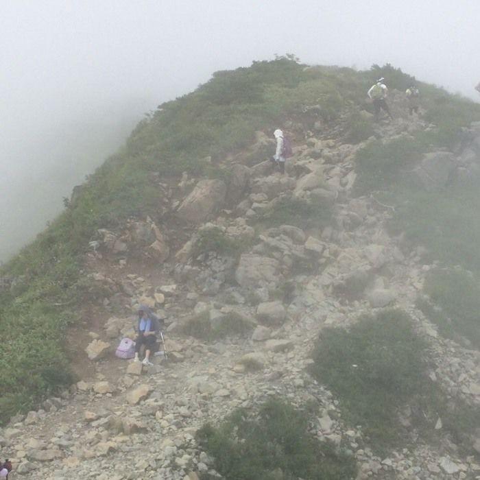 霧の中をトレッキングする人々