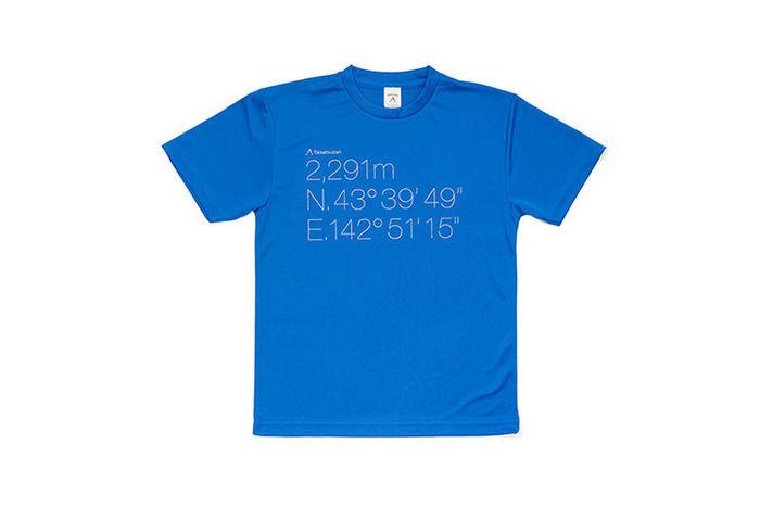 標高と頂の経度緯度がプリントされた地域限定Tシャツ