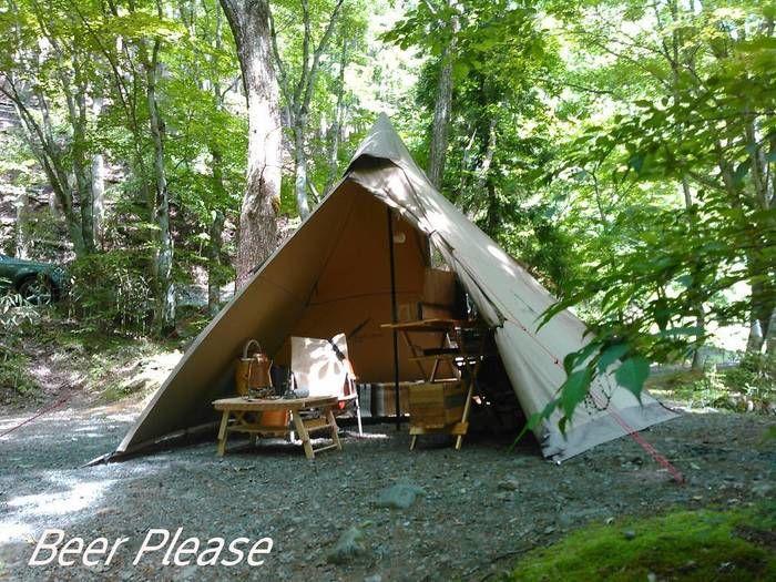 林の中のサンドカラーのテント