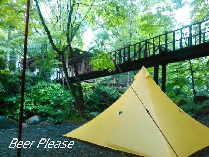 緑の中の黄色いテント