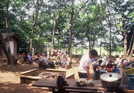 豊里ゆかりの森でバーベキューを楽しむ人たち