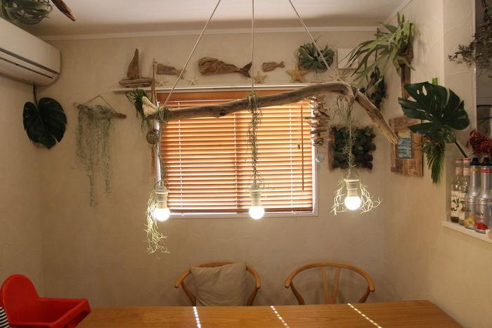 一本の流木に電球を吊るした照明
