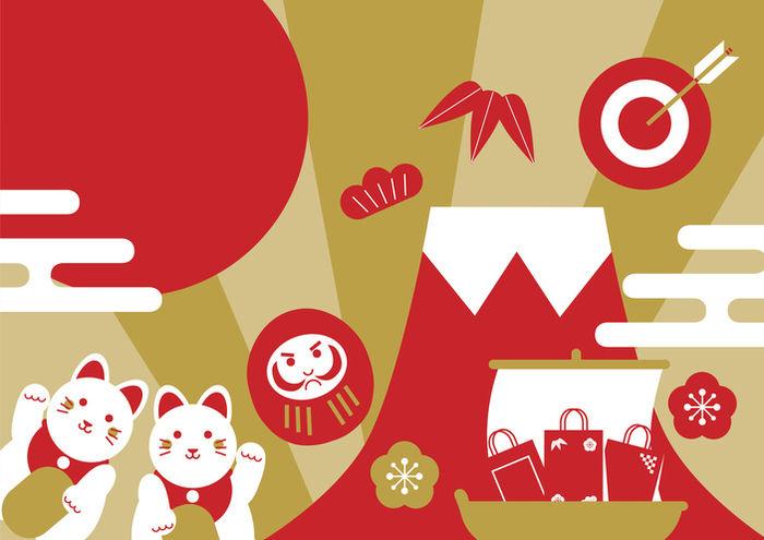 お正月 富士山や招き猫のイラスト