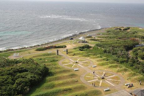 角島灯台公園 上空からの様子
