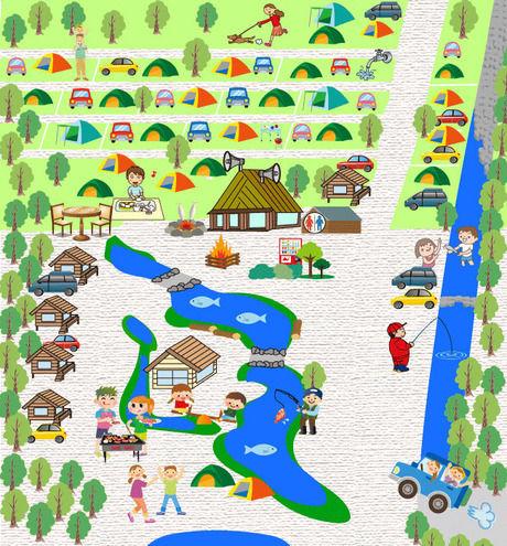 ナラ入沢渓流釣りキャンプ場のマップ