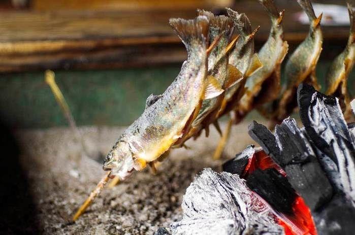 ナラ入沢渓流釣りキャンプ場で釣った魚を焼く様子