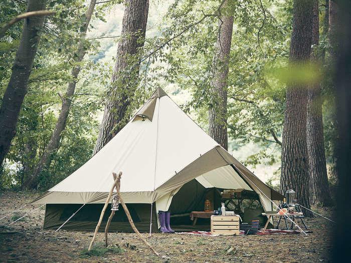 設営されたogawaのテント