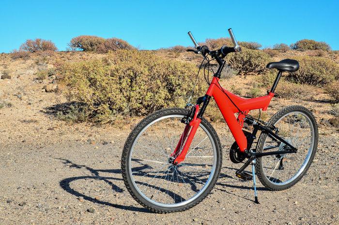 山に止まっている赤い自転車