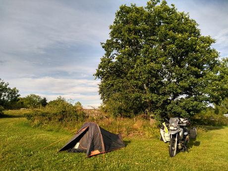 大きな木の前にバイクとテントがある