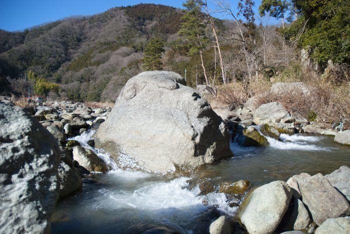 緑の休暇村青根キャンプ場の道志川