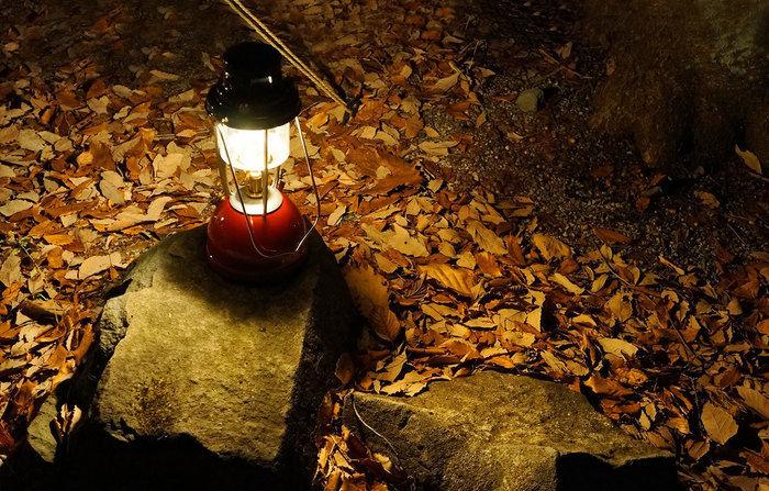 岩に置かれた灯りがともるランタン