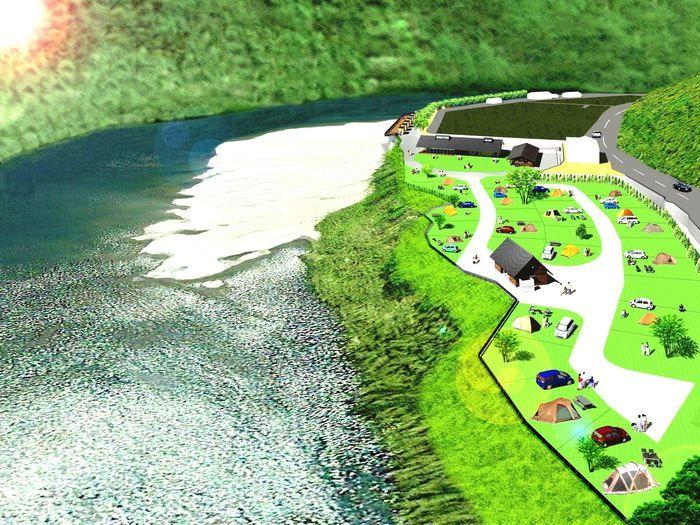 スノーピークおち仁淀川キャンプフィールドの全体像完成イメージ