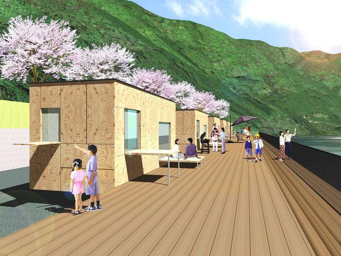 スノーピークおち仁淀川キャンプフィールドに住箱が設置された完成イメージ