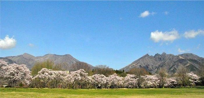 休暇村 南阿蘇からの阿蘇山の風景