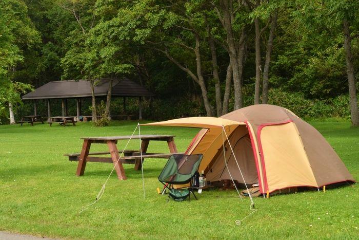 芝生の上に張られたテント