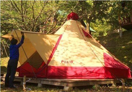 岩屋公園キャンプ場のティピテント