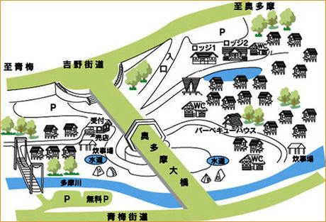 川井キャンプ場内のマップ
