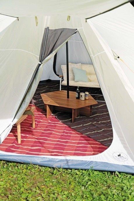 テントの中のヘキサセンターテーブル