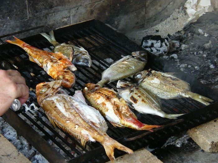 釣った魚でバーベキュー