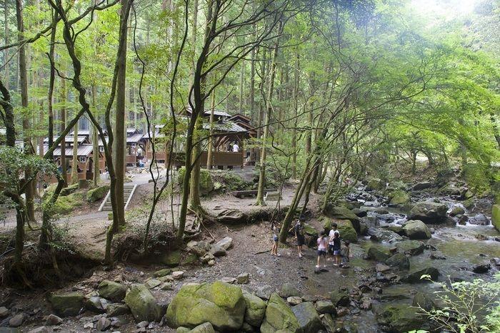 くらがり渓谷キャンプ場で水遊びをするファミリー