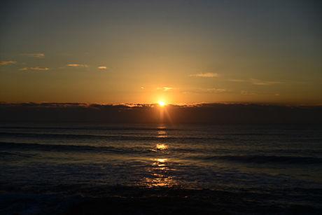 九十九里浜シーサイドオートキャンプ場 海に沈む夕日