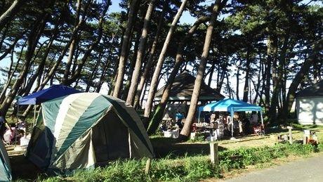 象潟海水浴場キャンプ場のテントサイト