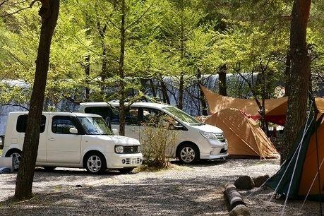 篠沢大滝キャンプ場でのキャンプの様子