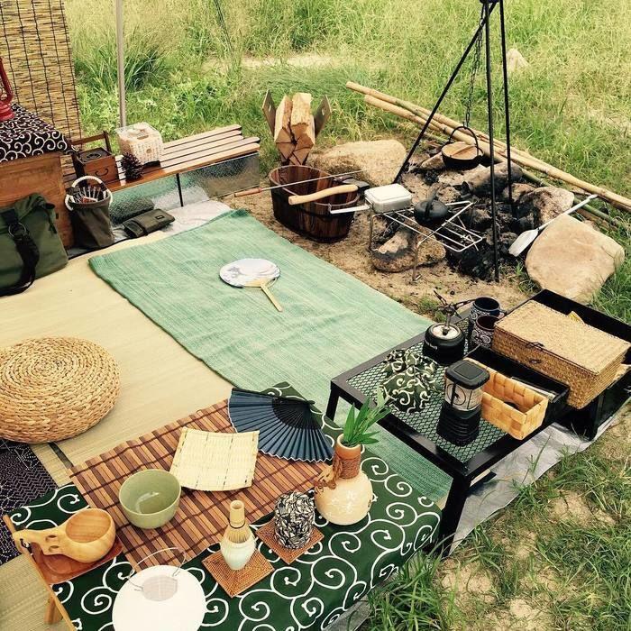 和風小物を用いたキャンプスタイル