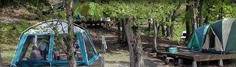 舟形若あゆ温泉「あゆっこ村」キャンプ場でのキャンプの様子