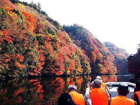 カヌーで紅葉を楽しむ人たち