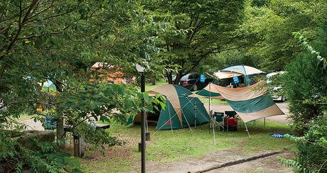 安田川アユおどる清流キャンプ場のキャンプの様子
