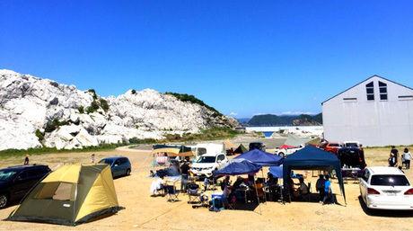 白崎海洋公園でのキャンプの様子