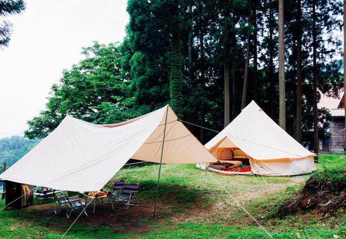 若杉高原おおやキャンプ場に貼られたテントやタープ