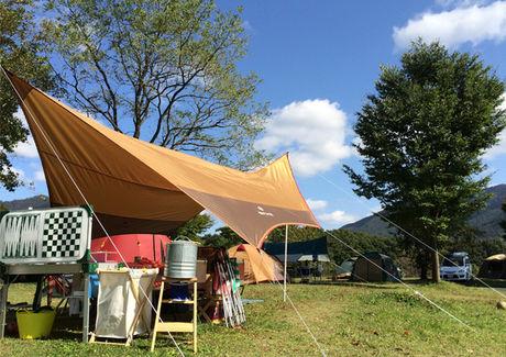 休暇村蒜山高原キャンプ場でのキャンプの様子