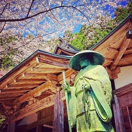 月輪寺の桜と像