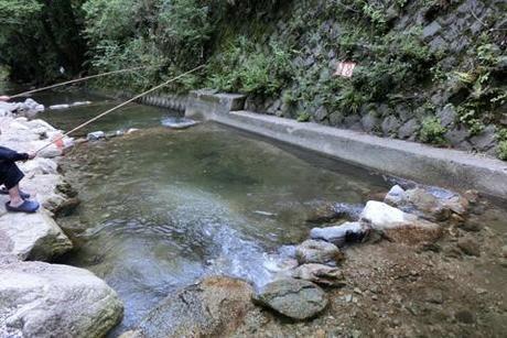 自然休養村 小深の里の川で釣りをしている人