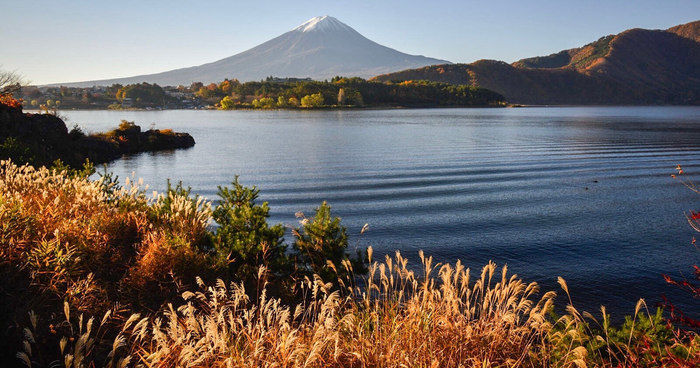 湖からの富士山の眺め