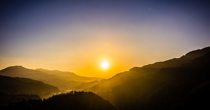 厳木ダムキャンプ場から見る夕日