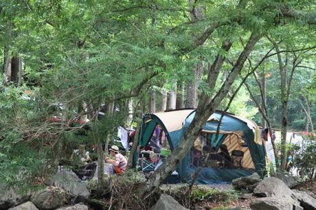 山伏オートキャンプ場でのキャンプの様子