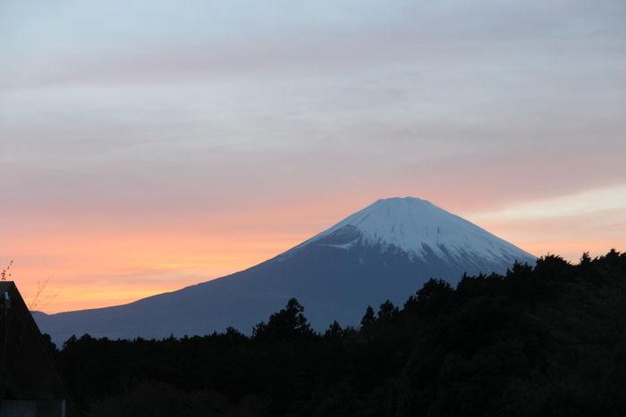 夕方の富士山の景観
