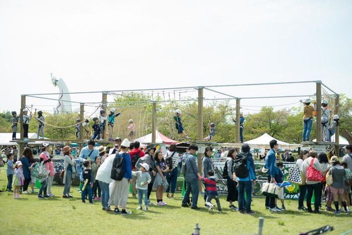 アウトドアパークでフォレストアドベンチャーを楽しむ子供たち
