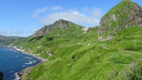 海と崖の礼文島の風景