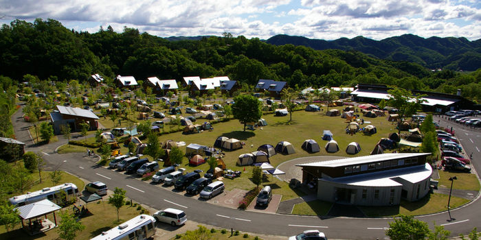 大子広域公園オートキャンプ場グリンヴィラの上空からの様子