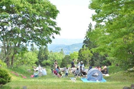 景色のいい森の中でキャンプをしている人たちの写真