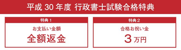 平成30年度行政書士試験合格特典