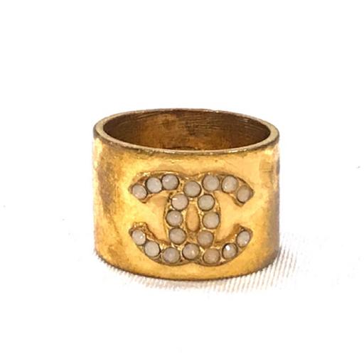 3df5a3391039 CHANEL シャネル リング 指輪 14号 01A ココマーク ラインストーン ゴールド系