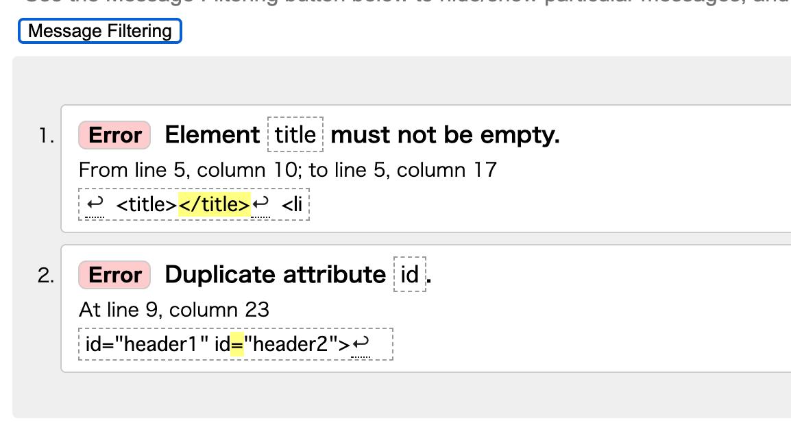 id属性自体を複数設定し、文法チェックした結果